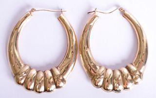 Large 10K Yellow Gold Hoop Earrings