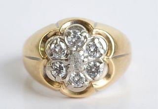 10K Yellow Gold & Diamond Petal Ring, Size 10 1/2