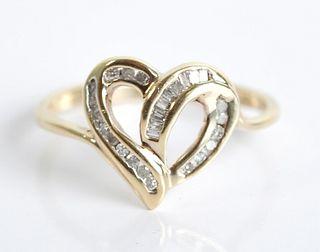 10K Yellow Gold & Diamond Heart Ring