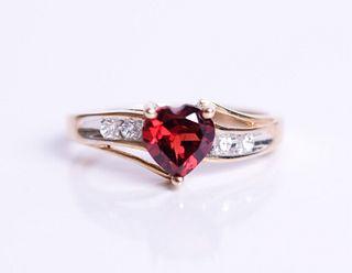 10K Yellow Gold & Tourmaline Heart Ring