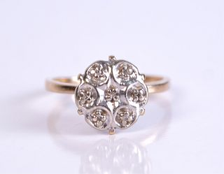 10K WG YG Floral Ring w/Diamonds