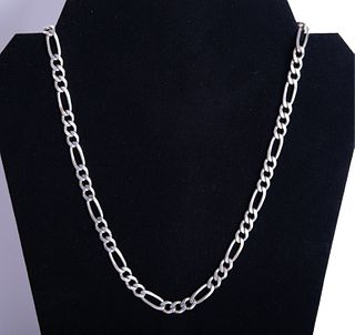 Large Italian Sterling Silver Chain link Necklace