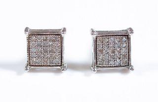 Pair, Sterling & Pave Diamond Earrings