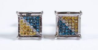 Pair, Sterling & Multi Color Diamond Earrings