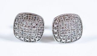 Pair, Sterling Silver & Diamond Earrings