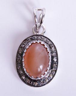 Sterling & Pink Moonstone Pendant w/Diamonds