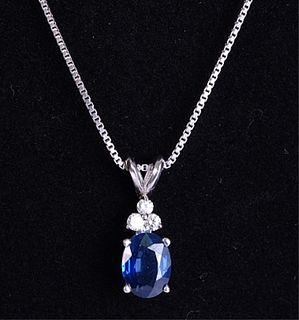 Italian 925 Diamond & Sapphire Pendant Necklace