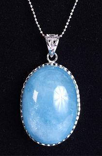 Sterling Silver & Blue Quartz Pendant Necklace