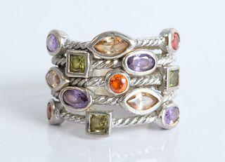 Modernist Sterling Silver & Gemstone Ring