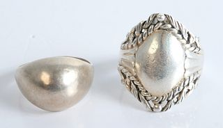 Two Sterling Silver Rings, sizes 7 & 8