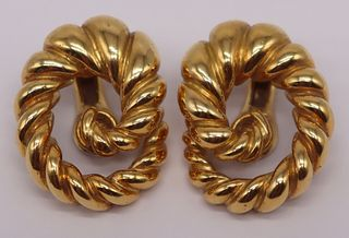 "JEWELRY. Pair of 18kt Gold ""Swirl"" Ear Clips."
