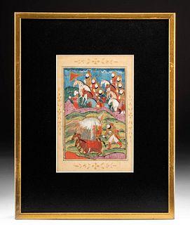 Framed 18th C. Mughal Painting - Rostam & Eagle