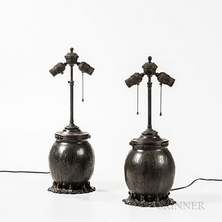 Attributed to Tiffany Pair of Swamp Flower Bronze Table Lamp Bases