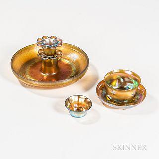 Five Pieces of Tiffany Studios Favrile Art Glass