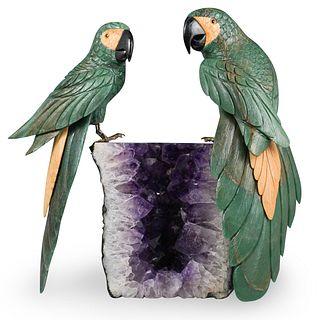 Large Semi Precious Stone Parrot Sculpture
