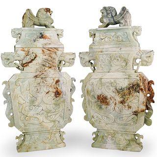 Pair Of Large Chinese Jade Foo Dog Urns