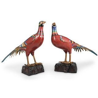 Pair Of Chinese Cloisonne Pheasants