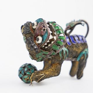 19th Ct Chinese Silver Enamel Foo Dog