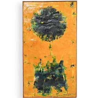 Marion Riseman (American, 1928-2010) Oil on Burlap