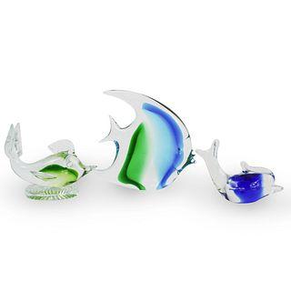 (3 Pc) Murano Glass Fish Figurines