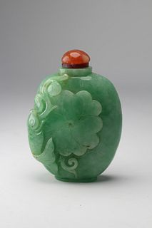 19th C. Chinese Carved Jadeite Snuff Bottle
