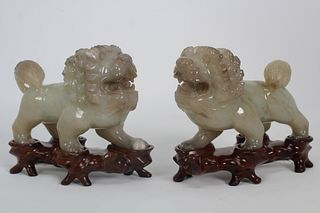 Pair, Carved 19th C, Chinese Hard Stone Lions