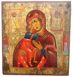 "Exhibited Russian Icon, ""Feodor Mother of God"""