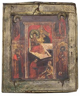 "Exhibited Russian icon, ""Birth of Mother of God"""