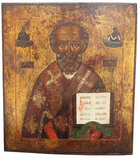 Exhibited 19th C. Russian Icon, Saint Nicholas