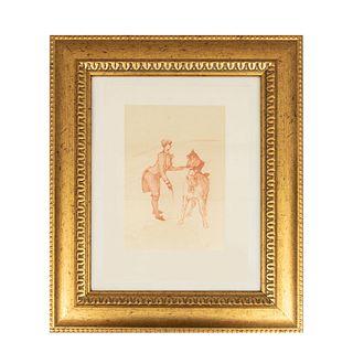 """Henri de Toulouse-Lautrec. """"Domadora"""" de la serie """"Au Cirque"""". Con monograma en plancha. Litografía edición póstuma. Enmarcado."""
