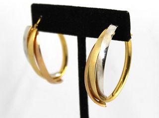 Vintage Modern 14K Tri-Gold Oval Hoop Earrings
