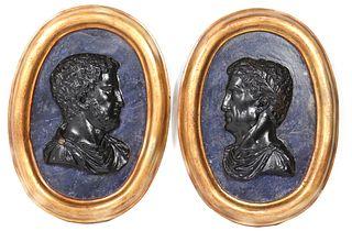 Neoclassical Style Plaster Portrait Plaques, Pair