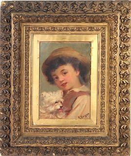 """William Penn Morgan """"Boy & Dog"""" Oil on Board"""