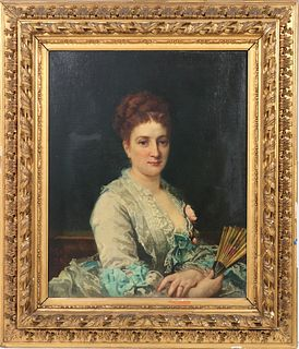 """Edouard May """"Portrait Woman with Fan"""" Oil, 19th C."""