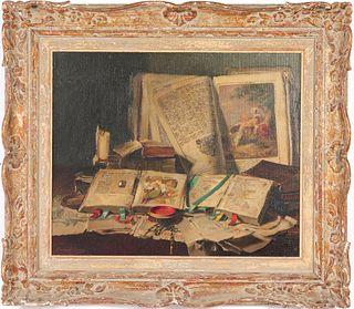 "Arpad Romek ""Still Life with Books"" Oil on Canvas"