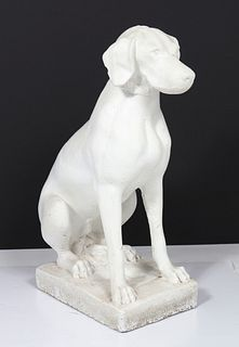 Seated Dog White Painted Stone Garden Sculpture