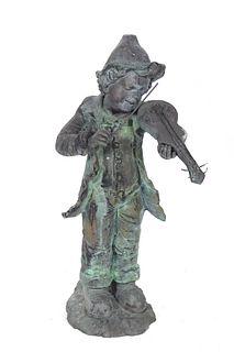 "Cast Iron ""Boy Playing Violin"" Garden Sculpture"