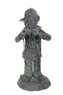 """Cast Iron """"Boy W/ Marching Drum"""" Garden Sculpture"""