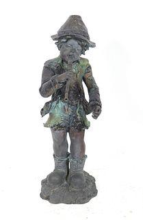 """Cast Iron """"Boy Playing Recorder"""" Garden Sculpture"""