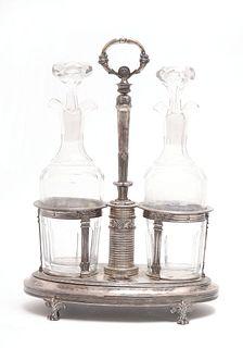 Antique Belgian Silver Cruet Stand W Bottles