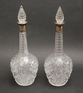 English Silver Collared Cut Glass Decanters, Pr
