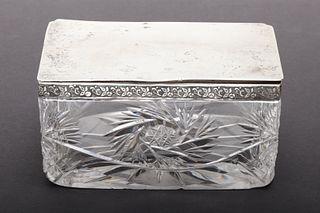 Latvian Silver & Glass Hinged Lid Dresser Box