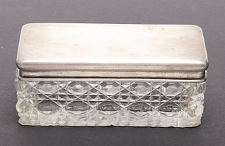 Russian Silver & Glass Covered Dresser Box