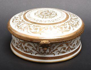 French Limoges Gilt Porcelain Dresser Box