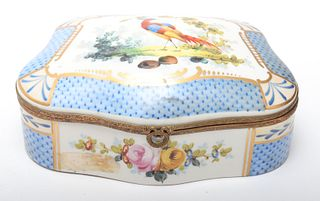 French Hand-Painted Porcelain Bird-Motif Box
