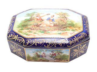 """Czech """"Lang"""" Hand-Painted Porcelain Dresser Box"""