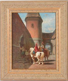 """Ernest Seigneurgens """"Castle Guard"""" Oil on Panel"""
