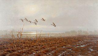 Jim Morgan (b. 1947)  Geese Over Fields