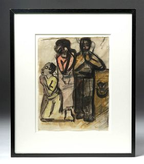 1940s German Expressionist Mixed Media (Framed)