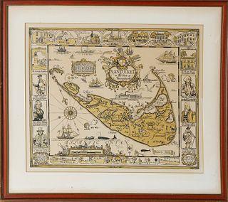 1926 Tony Sarg Nantucket Map Print